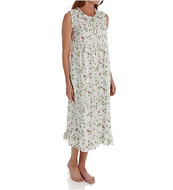 La Cera 100% Cotton Woven Sleeveless Nightgown