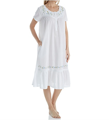 La Cera 100% Cotton Woven Short Sleeve Gown with Pockets