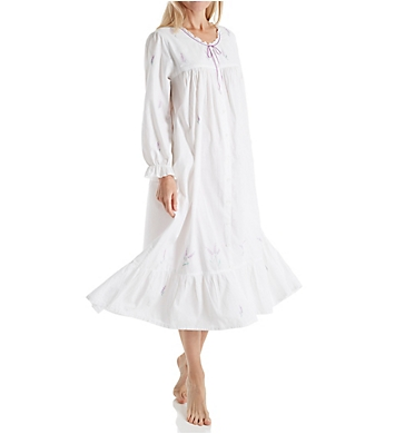 La Cera 100% Cotton Woven Embroidery Long Sleeve Gown