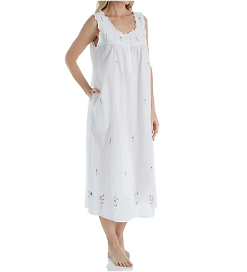 La Cera 100% Cotton Woven Sleeveless Long Nightgown