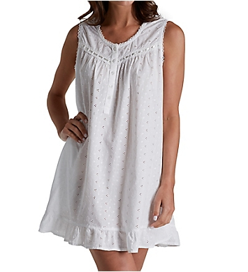 La Cera 100% Cotton Woven Embroidered Short Gown