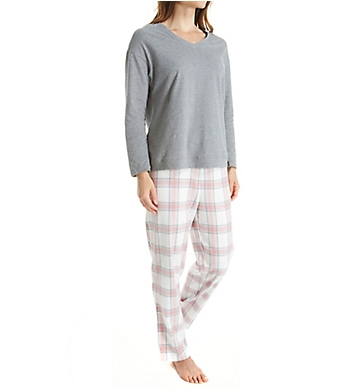 La Cera Knit and Flannel PJ Set