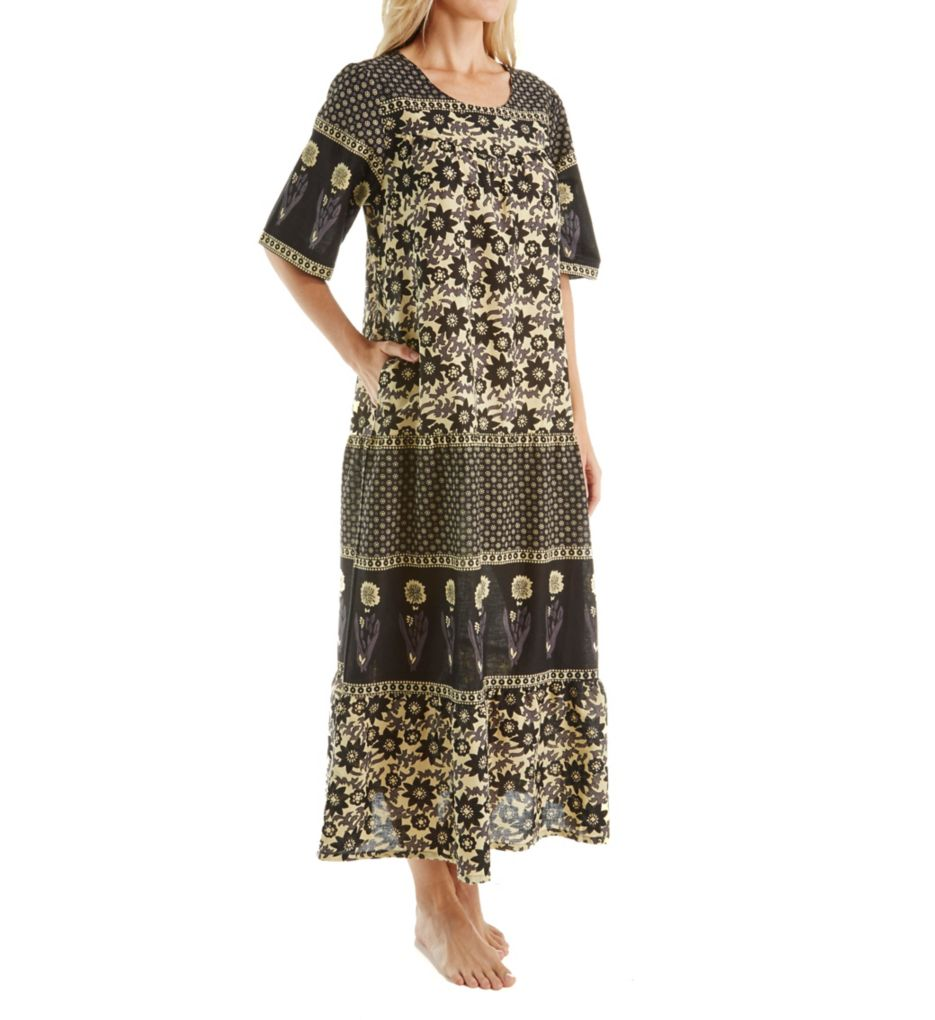 La Cera 100% Cotton Ankle Length Lounge Dress with Pockets