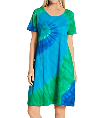 La Cera 100% Cotton Bold Knit Lounge Dress