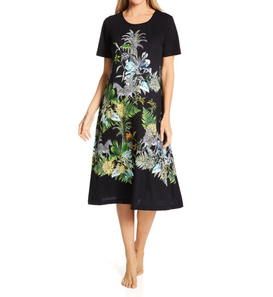 La Cera Short Sleeve Cotton Knit Dress with Pockets