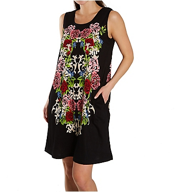 La Cera Cotton Knit Abstract Floral Print Dress