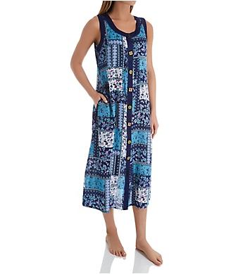 La Cera Button Front Sleeveless Lounge Dress with Pockets