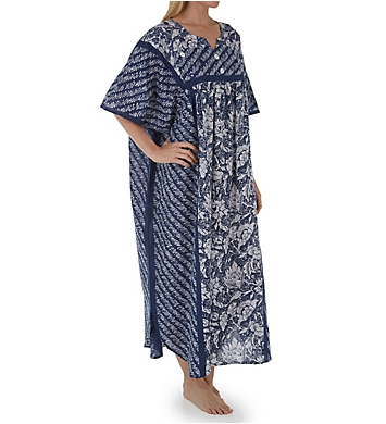 La Cera 100% Cotton Block Pattern Caftan