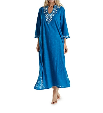 La Cera 100% Cotton Woven Embroidered Jacquard Caftan