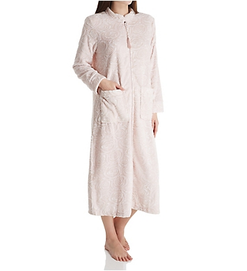 La Cera Embossed Rose Ballet Zip Robe
