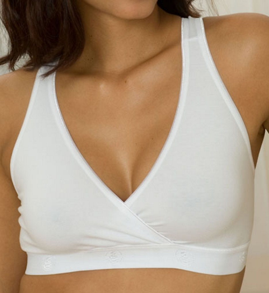 La Leche League - La Leche League 4150 Cross Over Soft Cup Nursing Bra (White S)