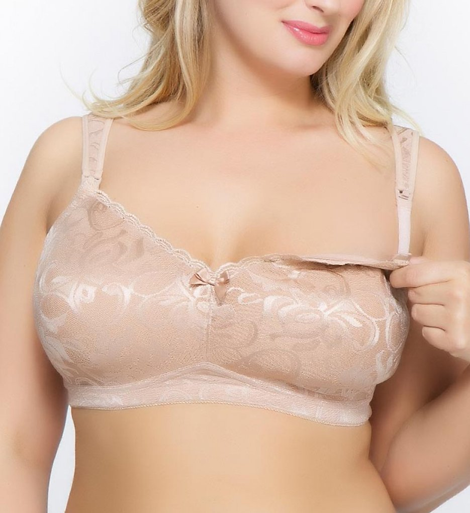 La Leche League >> La Leche League 4186 Wireless T-Shirt Nursing Bra (Nude 42C)