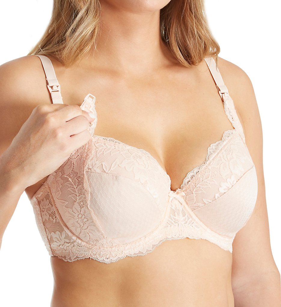La Leche League >> La Leche League 4555 Lace and Jacquard Full Coverage Nursing Bra (Blush 34C)