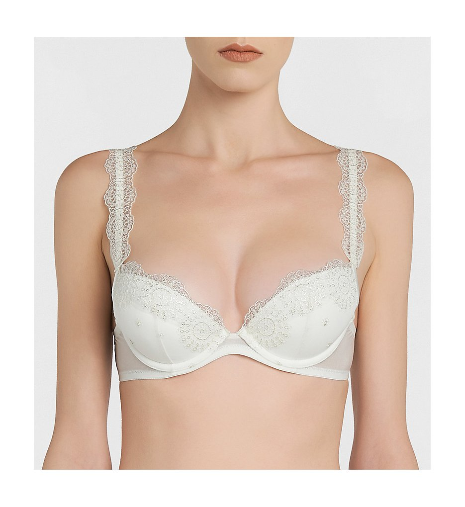 La Perla : La Perla 01264 Moonstone Push Up Bra (Off White/Silver 32B)