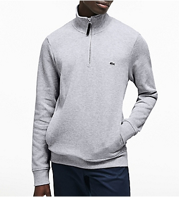 Lacoste Semi Fancy 1/4 Zip With Rib Knit Detail