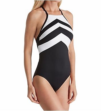 Lauren Ralph Lauren Chevron High Neck One Piece Swimsuit