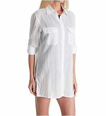 Lauren Ralph Lauren Crushed Cotton Camp Shirt Cover Up