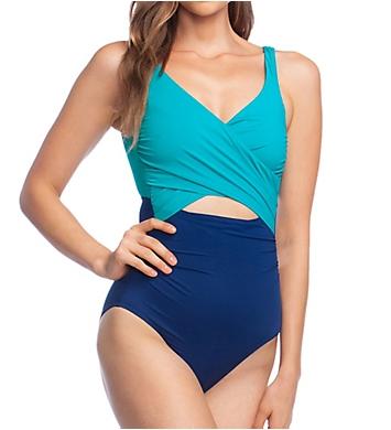 Lauren Ralph Lauren Glamour Color Block Slimming One Piece Swimsuit