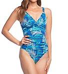 Palm Stripe Underwire Slimming One Piece Swimsuit