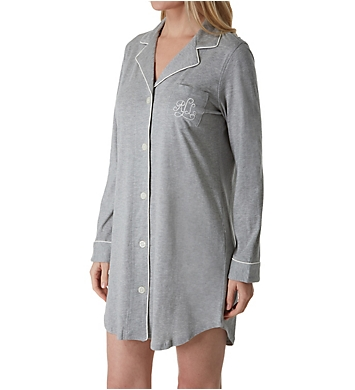 Lauren Ralph Lauren Sleepwear Hammond Knits Long Sleeve Notch Collar Sleepshirt