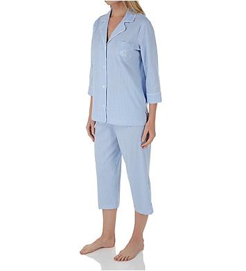 Lauren Ralph Lauren Sleepwear Heritage Knits 3/4 Sleeve Classic Capri PJ Set