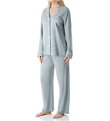 Lauren Ralph Lauren Sleepwear Hammond Knits Long Sleeve Notch Collar PJ Set