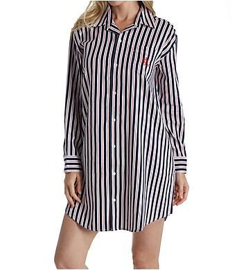 Lauren Ralph Lauren Sleepwear Navy Stripe Classic Sateen Long Sleeve Sleepshirt
