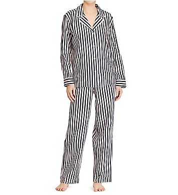 Lauren Ralph Lauren Sleepwear Navy Stripe Classic Sateen Notch Collar PJ Set