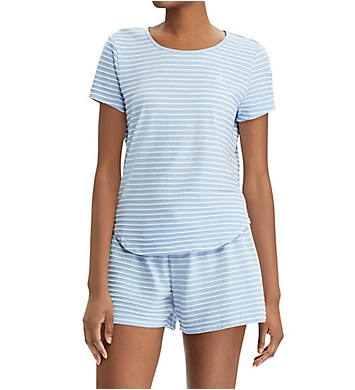 Lauren Ralph Lauren Sleepwear Stripe Knits Short Sleeve Boxer PJ Set