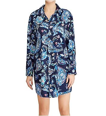 Lauren Ralph Lauren Sleepwear Paisley Classic Sateen Long Sleeve Sleepshirt