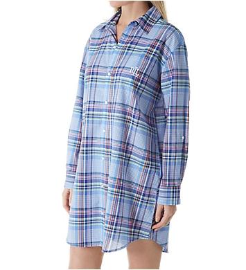 Lauren Ralph Lauren Sleepwear Classic Woven Long Sleeve with Roll Tab Sleepshirt