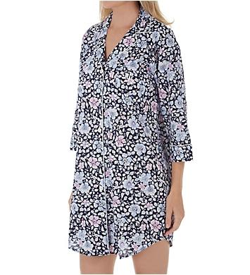 Lauren Ralph Lauren Sleepwear Classic Woven 3/4 Sleeve Notch Collar Sleepshirt