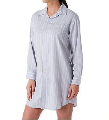 Lauren Ralph Lauren Sleepwear Logo Stripe Woven Long Sleeve Sleepshirt