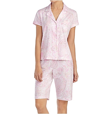 Lauren Ralph Lauren Sleepwear Classic Knits Short Sleeve Notch Collar Bermuda PJ