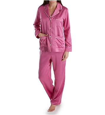 Lauren Ralph Lauren Sleepwear Satins Long Sleeve Notch Collar Long Pant PJ Set
