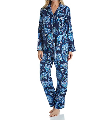 Lauren Ralph Lauren Sleepwear Paisley Long Sleeve Notch Collar Long PJ Set