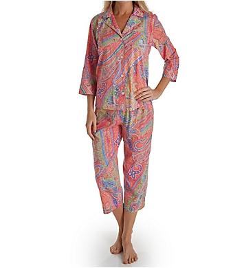 Lauren Ralph Lauren Sleepwear Classic Wovens 3/4 Sleeve Notch Collar PJ Set
