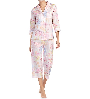 Lauren Ralph Lauren Sleepwear Southern Belle 3/4 Sleeve Notch Collar PJ Set