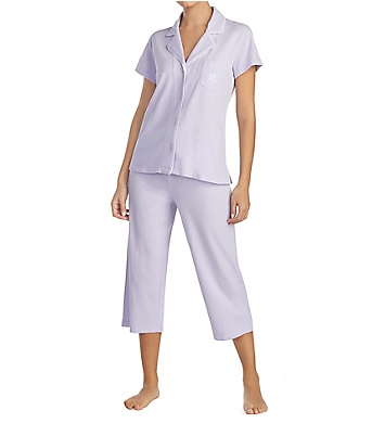 Lauren Ralph Lauren Sleepwear Pique Knits Short Sleeve Notch Collar PJ Set
