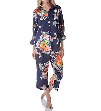 Lauren Ralph Lauren Sleepwear Classic Wovens Long Sleeve Roll Tab Capri PJ Set