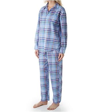 Lauren Ralph Lauren Sleepwear Classic Woven Long Sleeve with Roll Tab PJ Set