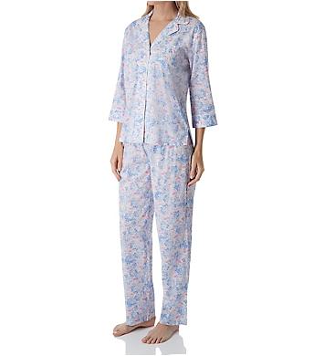 Lauren Ralph Lauren Sleepwear Classic Woven 3/4 Sleeve Notch Collar Pant PJ Set