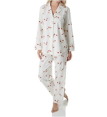 Lauren Ralph Lauren Sleepwear Brushed Twill Long Sleeve Notch Collar PJ Set