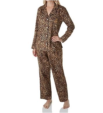 Lauren Ralph Lauren Sleepwear Sateen Long Sleeve Classic Notch Collar PJ Set