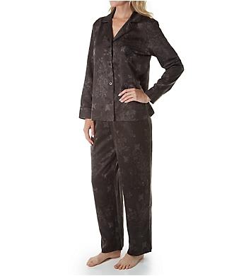 Lauren Ralph Lauren Sleepwear Satin Long Sleeve Notch Collar Long Pant PJ Set