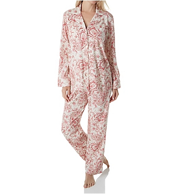 Lauren Ralph Lauren Sleepwear Classic Knit Long Sleeve Notch Collar PJ Set