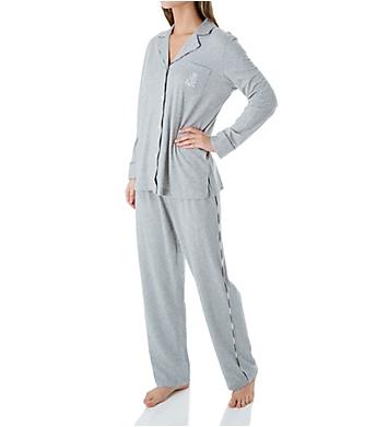 Lauren Ralph Lauren Sleepwear Plaid Trimmed Knit Long Sleeve Notch Collar PJ Set