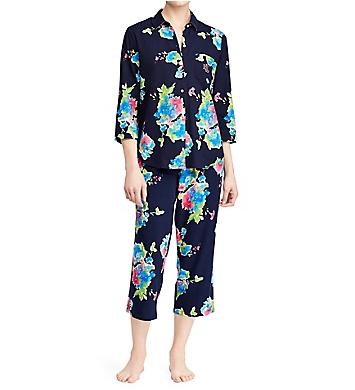 Lauren Ralph Lauren Sleepwear Classic Woven 3/4 Sleeve Capri Pant PJ Set