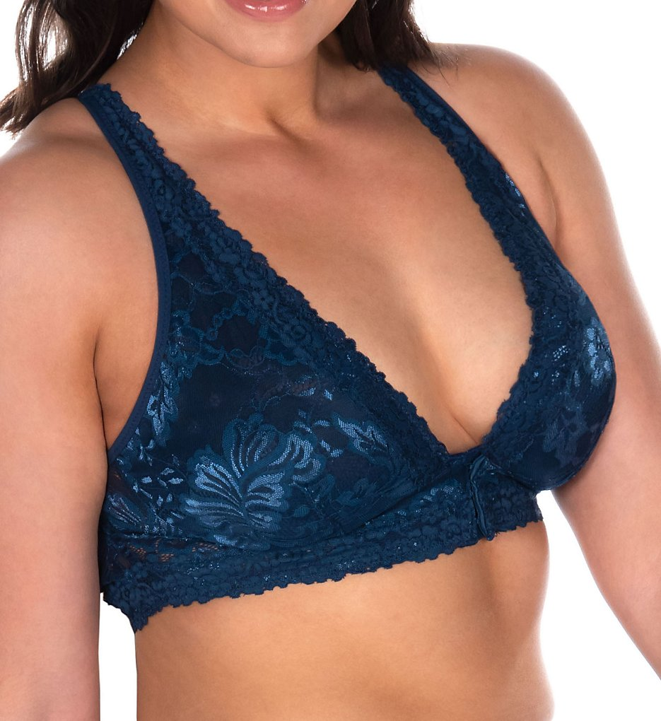 Leading Lady : Leading Lady 5071 Lace Wirefree Front Closure Bralette (Navy M)