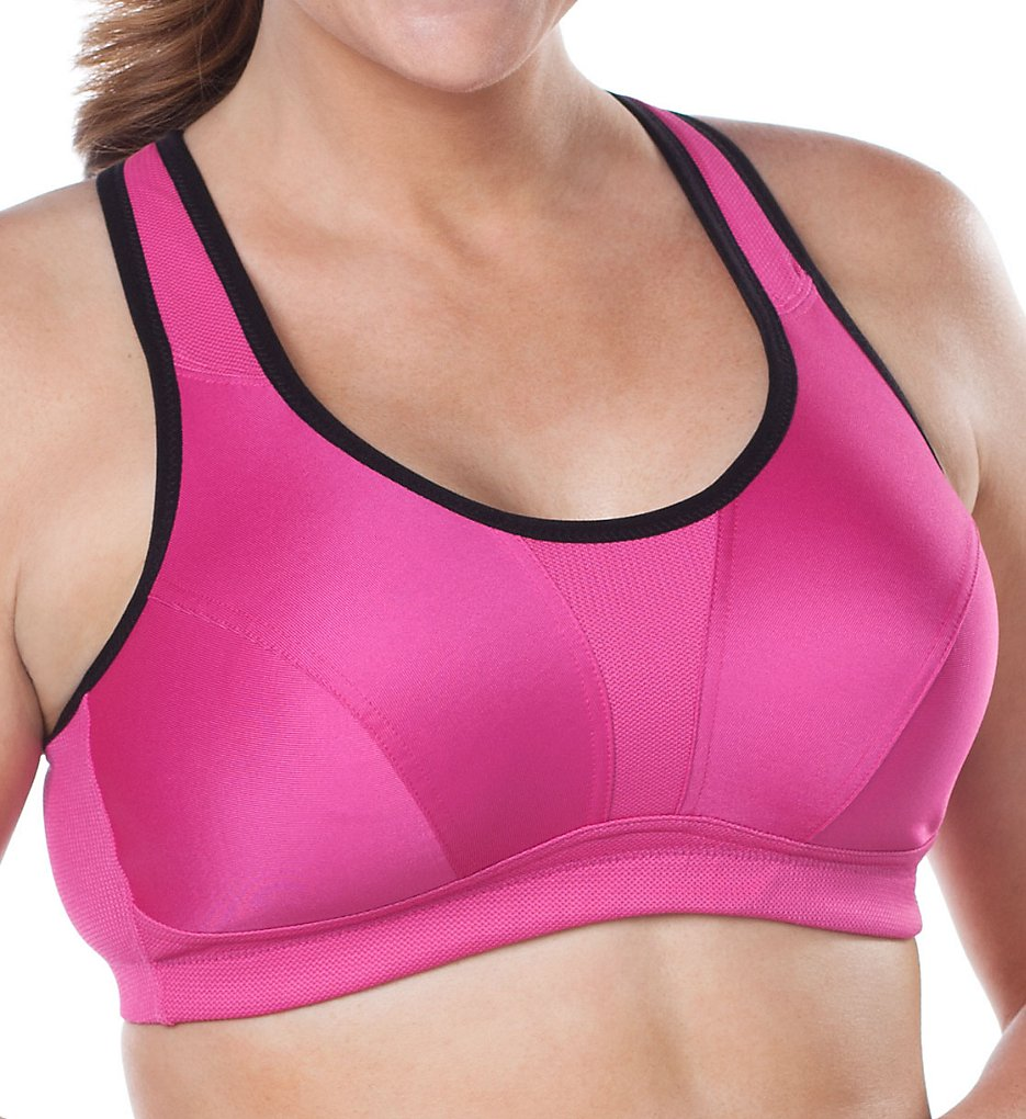 Leading Lady : Leading Lady 5430 Sports Bra with Wicking (Raspberry/Black Trim 36C)